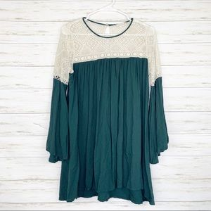 Altar'd State | Green Lace Top Bell Sleeve Dress